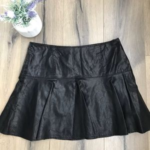 Free People Black Vegan Faux Leather skirt 12